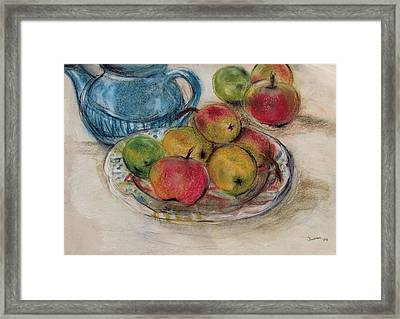 Still Life With Blue Teapot 2 Framed Print by Susan Adams