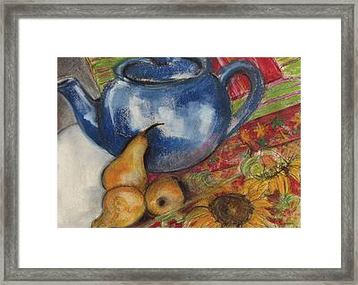 Still Life With Blue Teapot One Framed Print by Susan Adams