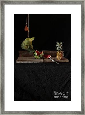 Still Life With Cabbage Pear Melon And Pineapple Framed Print by Joe Jake Pratt