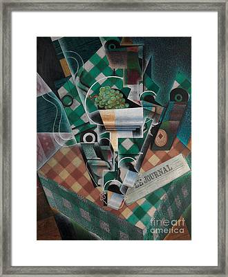 Still Life With Checked Tablecloth Framed Print by Celestial Images