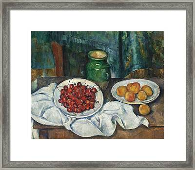 Still Life With Cherries And Peaches Framed Print by Celestial Images
