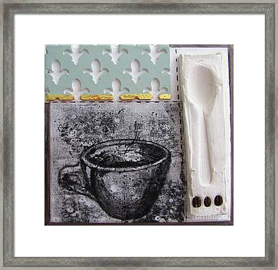 Still Life With Coffee Cup Beans And Spoon Framed Print by Peter Allan