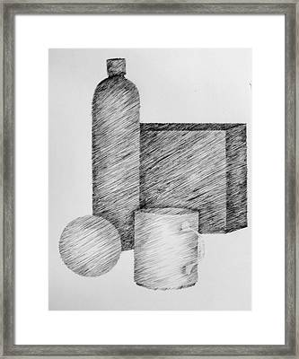 Still Life With Cup Bottle And Shapes Framed Print by Michelle Calkins