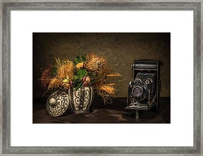 Still Life With Flowers And Camera Framed Print by Wim Lanclus