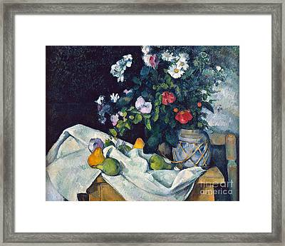 Still Life With Flowers And Fruit Framed Print by Cezanne