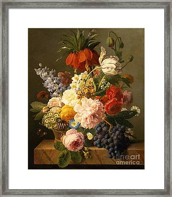 Still Life With Flowers And Fruit Framed Print by Jan Frans van Dael