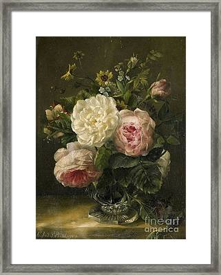 Still Life With Flowers In A Crystal Vase Framed Print by MotionAge Designs