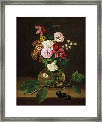 Still Life With Flowers In A Glass Vase Framed Print by Franz Xaver