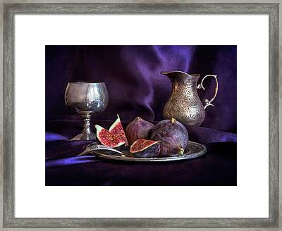 Still Life With Fresh Figs And Metal Dishes Framed Print by Jaroslaw Blaminsky