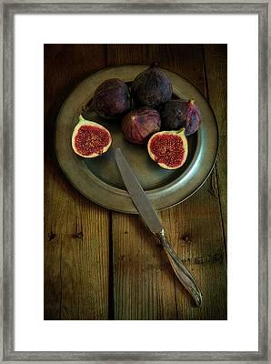 Still Life With Fresh Figs On A Silver Plate Framed Print by Jaroslaw Blaminsky