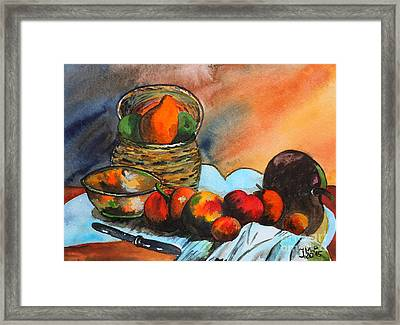 Still Life With Fruit Basket Framed Print by Jutta Maria Pusl