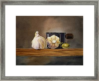 Still Life With Garlic And Olive Framed Print by Irina Sztukowski