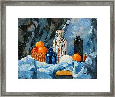 Still Life With Jugs And Oranges Framed Print by Ethel Vrana