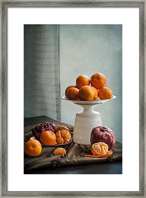 Still Life With Mandarins And Pomegranates Framed Print by Maggie Terlecki