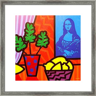 Still Life With Matisse And Mona Lisa Framed Print by John  Nolan