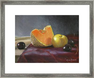 Still Life With Melon And Plumcot Framed Print by Anna Rose Bain