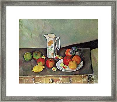 Still Life With Milkjug And Fruit Framed Print by Paul Cezanne