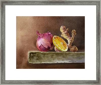Still Life With Onion Lemon And Ginger Framed Print by Irina Sztukowski