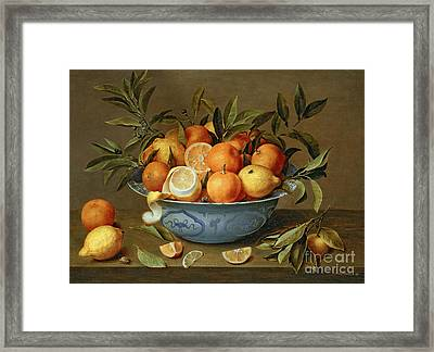 Still Life With Oranges And Lemons In A Wan-li Porcelain Dish  Framed Print by Jacob van Hulsdonck