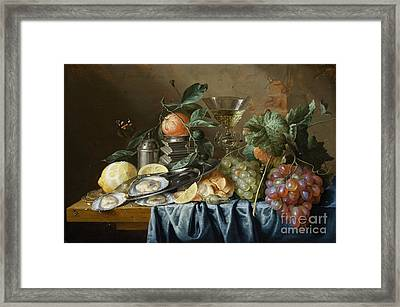 Still Life With Oysters And Grapes Framed Print by Celestial Images