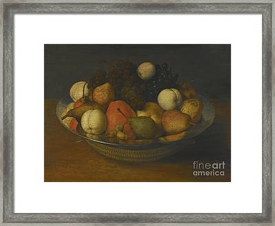 Still Life With Pears, Apples And Grapes In A Pewter Dish Framed Print by MotionAge Designs