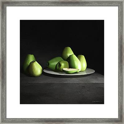 Still Life With Pears Framed Print by Cynthia Decker