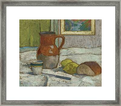 Still Life With Pitcher And Cup Framed Print by Emile Bernard