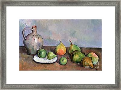 Still Life With Pitcher And Fruit Framed Print by Paul Cezanne