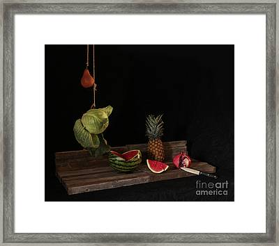 Still Life With Pomegranate Framed Print by Joe Jake Pratt