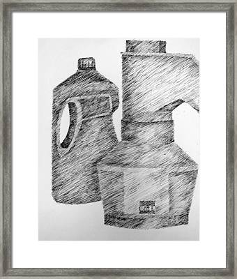 Still Life With Popcorn Maker And Laundry Soap Bottle Framed Print by Michelle Calkins