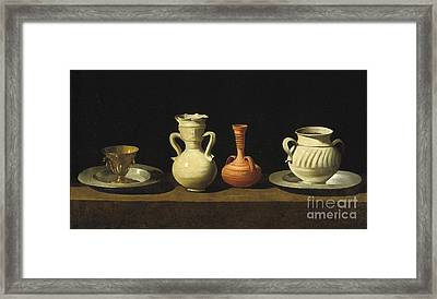 Still Life With Pottery Jars Framed Print by Celestial Images