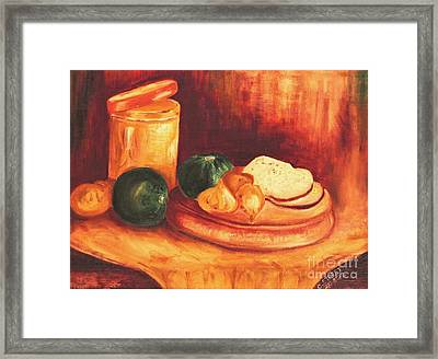 Still Life With Tin, Bread And Onions Framed Print by Caroline Street