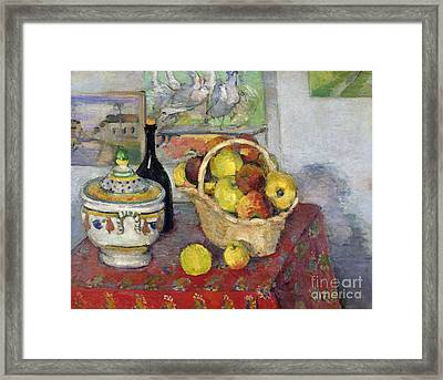 Still Life With Tureen Framed Print by Paul Cezanne