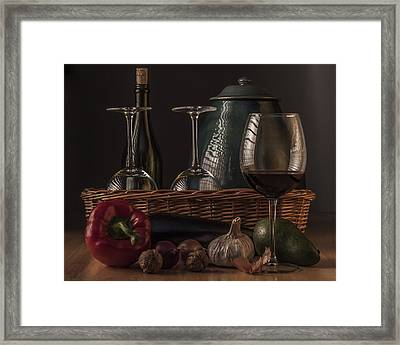 Still Life With Vegetables And Glass Of Wine Framed Print by Julis Simo