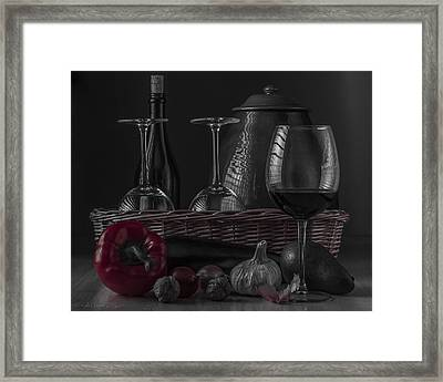Still Life With Vegetables And Glass Of Wine With Red Accent Framed Print by Julis Simo
