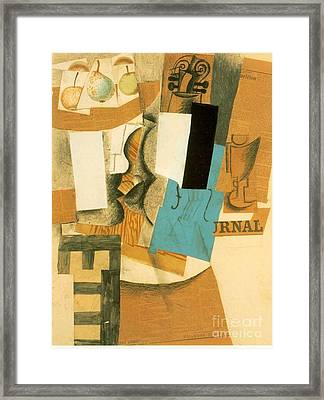 Still Life With Violin And Fruits Framed Print by Pablo Picasso