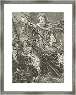 Stilling The Tempest  Framed Print by English School