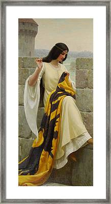 Stitching The Standard Framed Print by Edmund Blair Leighton