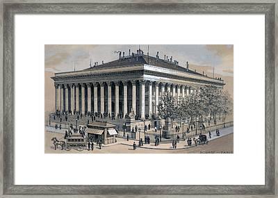 Stock Exchange In Paris, France, 1886 Framed Print by Everett