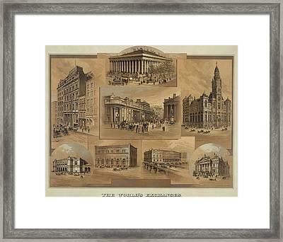 Stock Exchanges In New York, Paris Framed Print by Everett