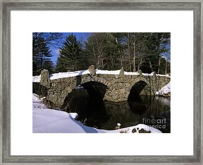 Stone Double Arched Bridge - Hillsborough New Hampshire Usa Framed Print by Erin Paul Donovan