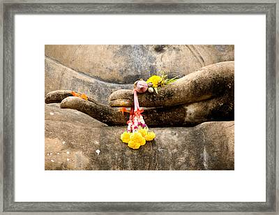 Stone Hand Of Buddha Framed Print by Adrian Evans