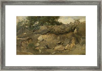 Stone Mine Of Chaise-marie In Fontainebleau Framed Print by Jean-Baptiste Camille Corot