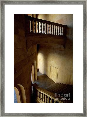Stone Stairwell Inside The Historic Palace Of Charles V At Alhambra Framed Print by Sami Sarkis