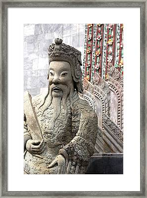 Stone Statue Of A God At The Grand Framed Print by Anne Keiser