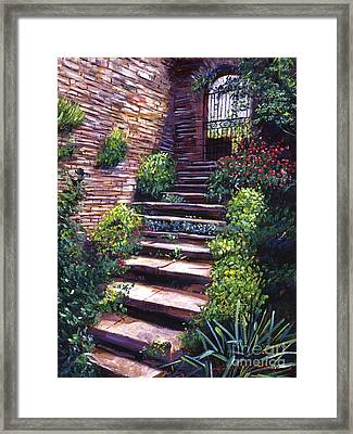 Stone Steps Tuscany Framed Print by David Lloyd Glover