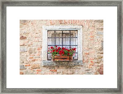 Stone Window Of Cortona II Framed Print by David Letts
