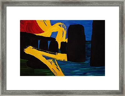 Stonehenge Abstract Evolution1 Framed Print by Gregory Allen Page