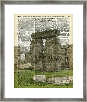 Stonehenge Over Dictionary Page Framed Print by Jacob Kuch