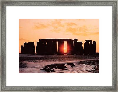 Stonehenge Winter Solstice Framed Print by English School